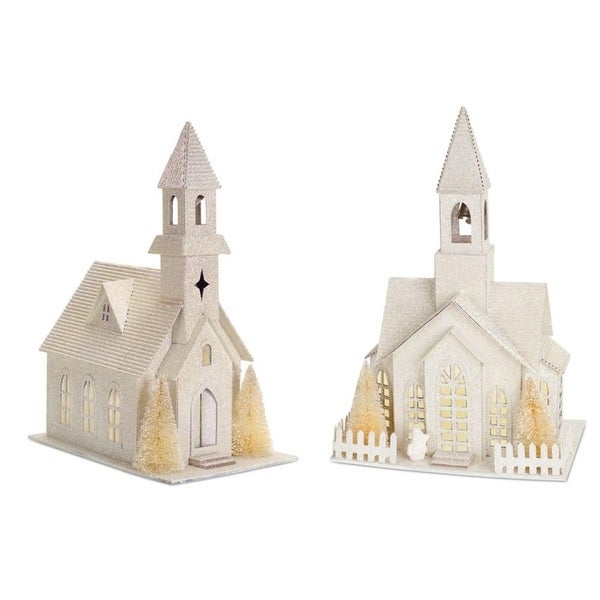 """Set of 2 White LED Snowy Glitter Tabletop Church with Timer 13.5"""""""