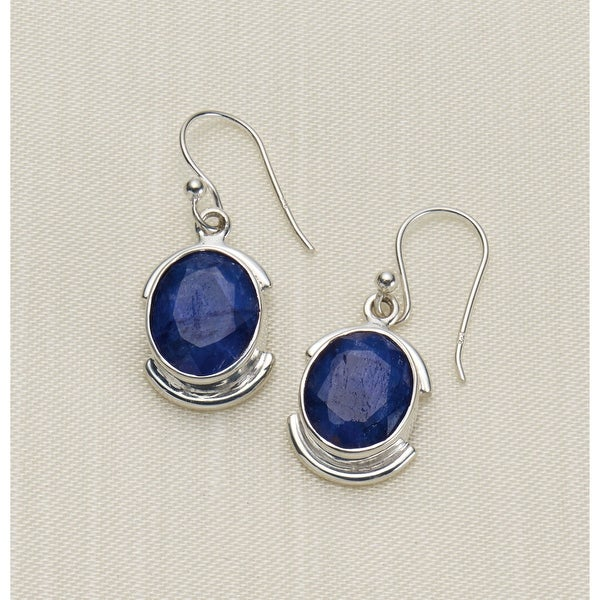 Women's Grand Sapphire Sterling Silver Earrings