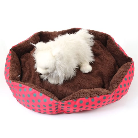 Nice-looking Dot Pattern Octagonal Flannelette & Cotton Pet Bed - Attribute: Exact Size Value 1