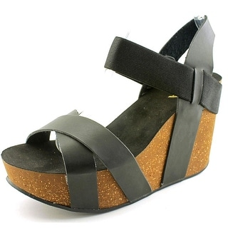 Mia Joy Women Open Toe Synthetic Black Wedge Sandal