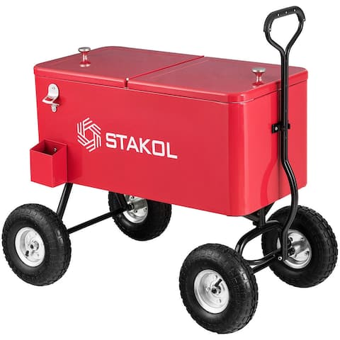 Costway Outdoor 80QT Portable Rolling Party Wagon Cooler Drink Ice