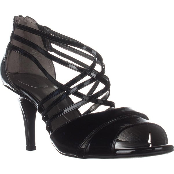 Bandolino Marlisa Strappy Peep Toe Sandals, Black Patent