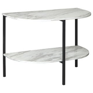 Link to Crescent Moon Shaped Marble Top Metal Chair Side End Table, White and Black Similar Items in Living Room Furniture