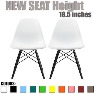 2xhome Modern Eames Side Dining Chair Color With Dark Black Wood Legs (Set of 2)