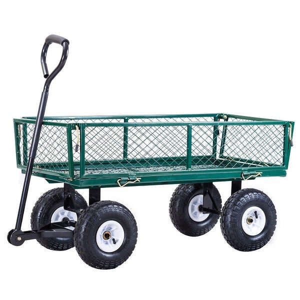 Shop Gymax Heavy Duty Lawn Garden Utility Cart Wagon Wheelbarrow Steel Trailer On Sale Overstock 21268023