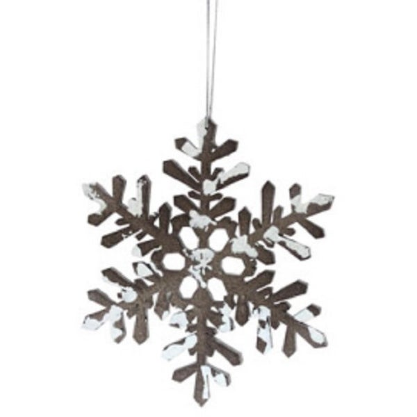 """6"""" Snowy Winter Glitter Tipped Brown and White Snowflake Decorative Christmas Ornament"""