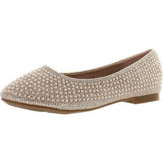 De Blossom Girl Harper-Ii-31 Sparkle Pearl Closed Toe Slip On Dress Pumps Flat Shoes