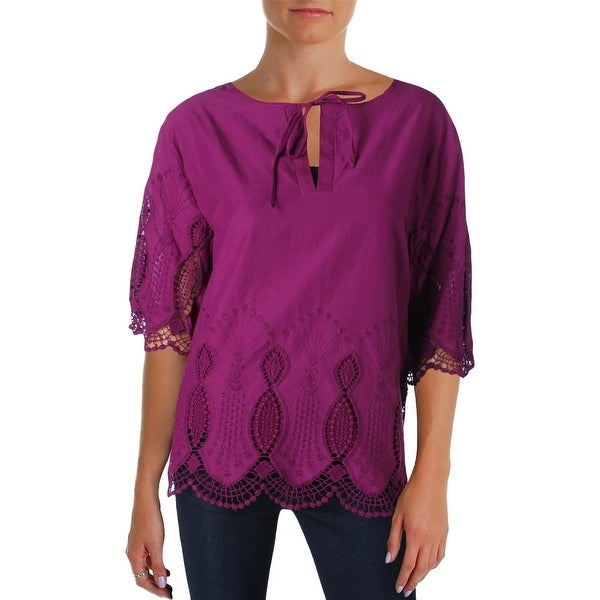 Lauren Ralph Lauren Womens Lozanna Blouse Crochet Trim Elbow Sleeves