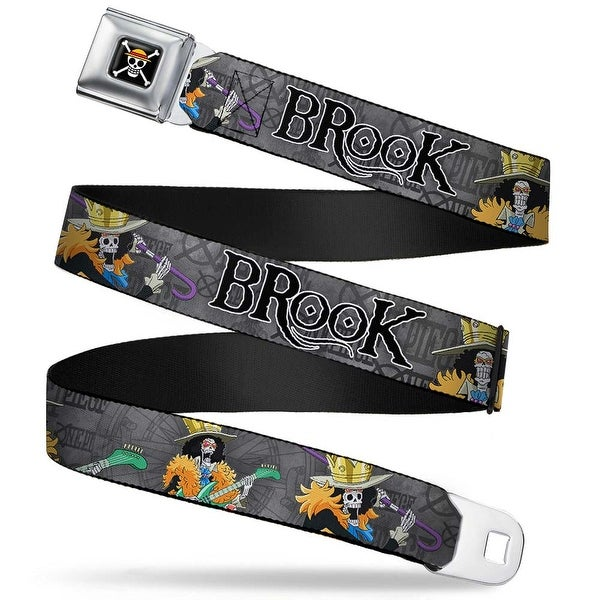 One Piece Skull Logo Full Color Brook Poses One Piece Compass Grays White Seatbelt Belt