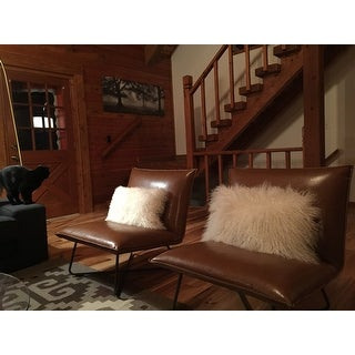 Shop Carson Carrington Saddle Brown Pillow Lounge Chair   Free Shipping  Today   Overstock.com   9363912