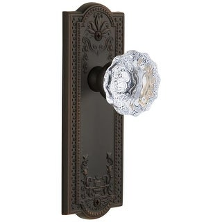"Grandeur PARFON_PSG_238  Parthenon Solid Brass Rose Passage Door Knob Set with Fontainebleau Crystal Knob and 2-3/8"" Backset"