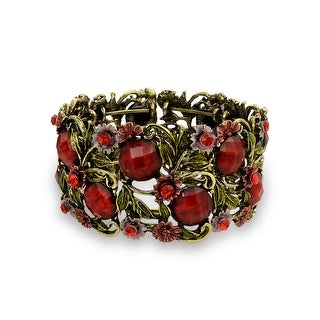 Bling Jewelry Imitation Garnet Crystal Flower Cuff Bracelet Gold Plated - Red