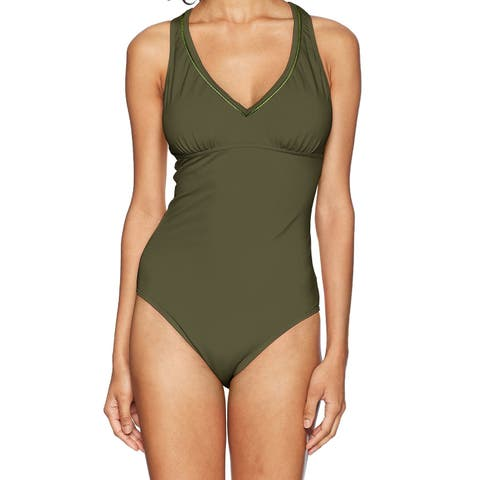 Prana Green Women's Size Small S One-Piece V-Neck Open-Back Swimwear