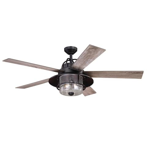 Charleston 56 In. Bronze Farmhouse Indoor-Outdoor Ceiling Fan with LED Light Kit and Remote - 56-in. W x 19.5-in. H x 56-in. D