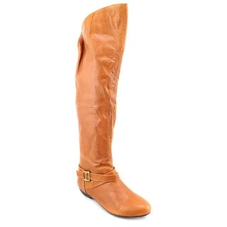 Chinese Laundry Nostalgia Women Round Toe Leather Tan Knee High Boot