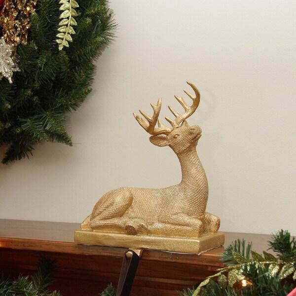 "10"" Embellished Gold Lodge Style Sitting Deer Decorative Christmas Stocking Holder"