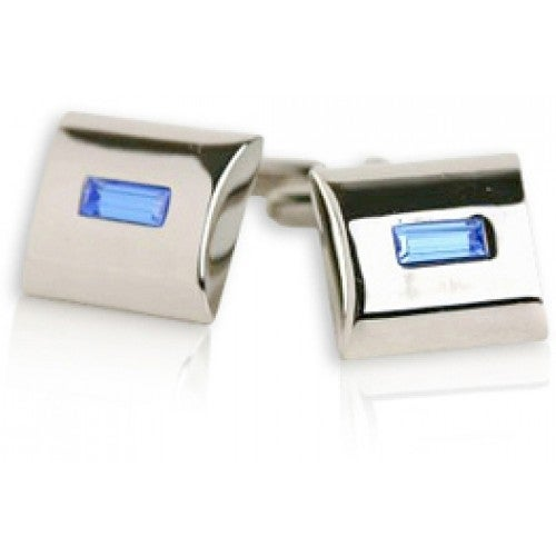 Light Blue Crystal Cufflinks