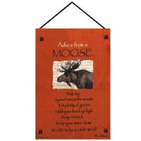 """Orange """"Advice from A Moose"""" Wall Art Hanging Tapestry 17"""" x 26"""""""