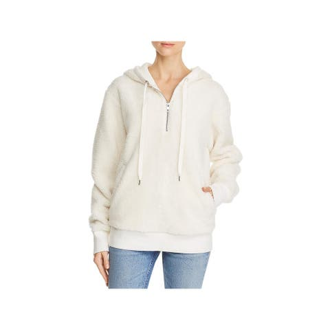 Rag & Bone Womens Teddy Sweatshirt Fleece Hoodie - Chalk - S
