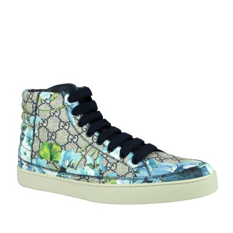 Gucci Men's Bloom Print Supreme GG Blue Canvas Hi Top Sneaker Shoes 407342 8470