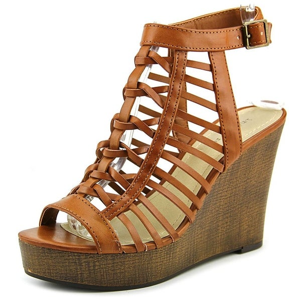 Indigo Rd. Karlie Women Open Toe Synthetic Brown Wedge Sandal