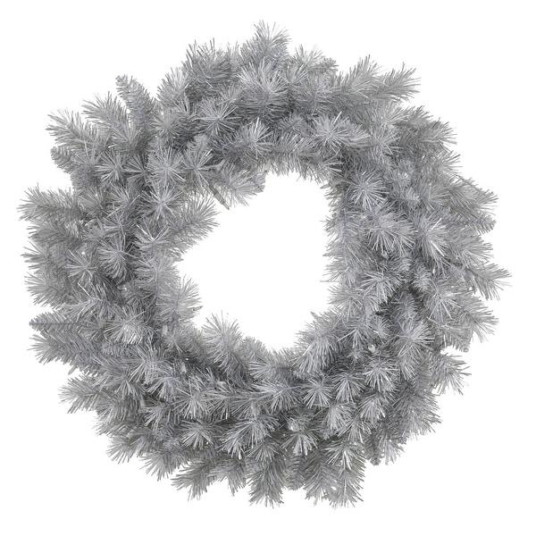 "24"" Silver White Pine Wreath 120T"