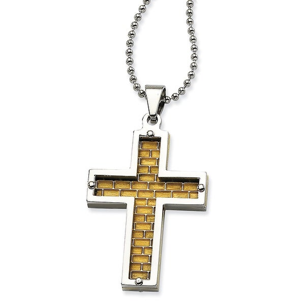 Chisel Stainless Steel Polished & Gold Plated Cross Pendant 22 Inch Necklace (1 mm) - 22 in