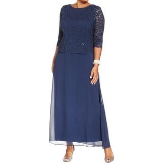 Alex Evenings Womens Plus Evening Dress Chiffon Sequined