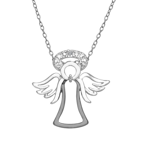 Angel Pendant with Diamond in Sterling Silver