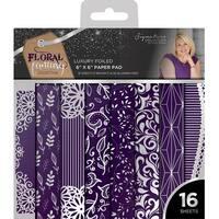 "Sara Davies Signature Luxury 6""X6"" Paper Pad 16/Pkg-Floral Fantasy-Foiled, Silver & Purple"