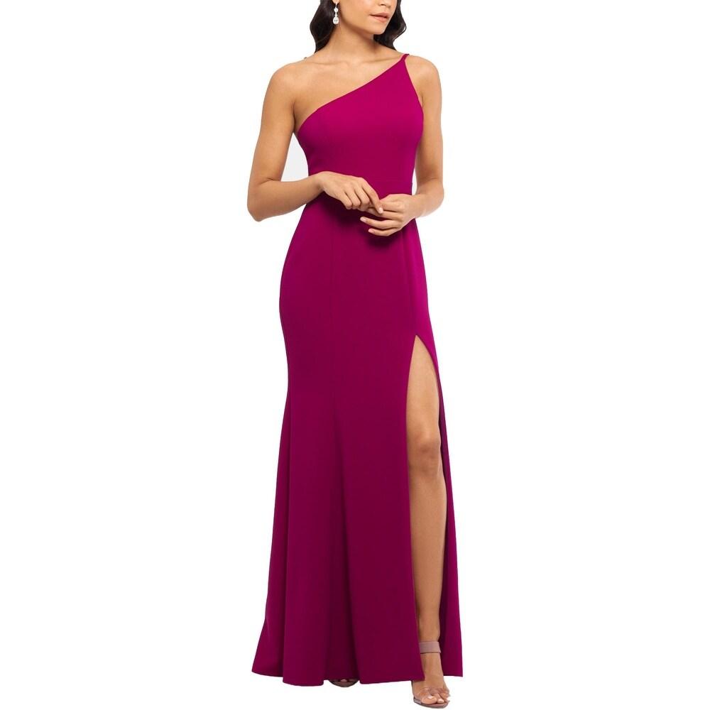 Xscape Womens Evening Dress One-Shoulder Crepe - Magenta