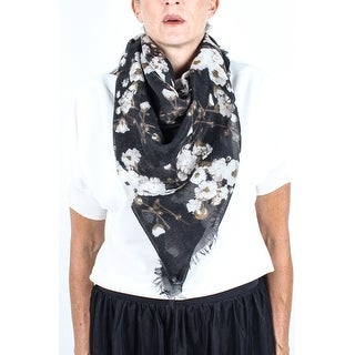 Givenchy Women's Floral Pattern Cashmere Scarf Large - Black/White/Brown - no size