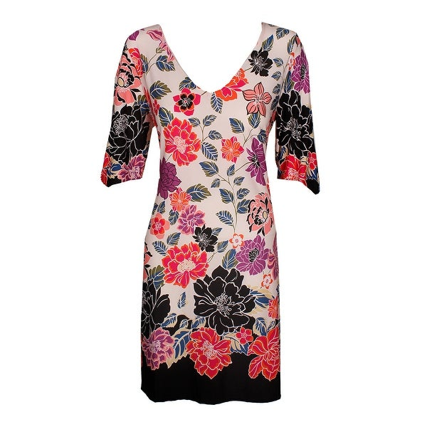 Msk Pink Black Printed Cold-Shoulder Cutout Dress 6