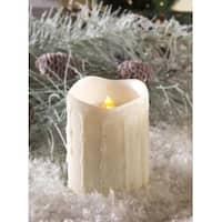 "4"" White Glitter Flameless LED Flickering Christmas Pillar Candle"
