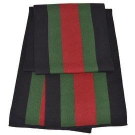 NEW Gucci 206086 Wool Silk BLACK Red Green Web Stripe Scarf Muffler