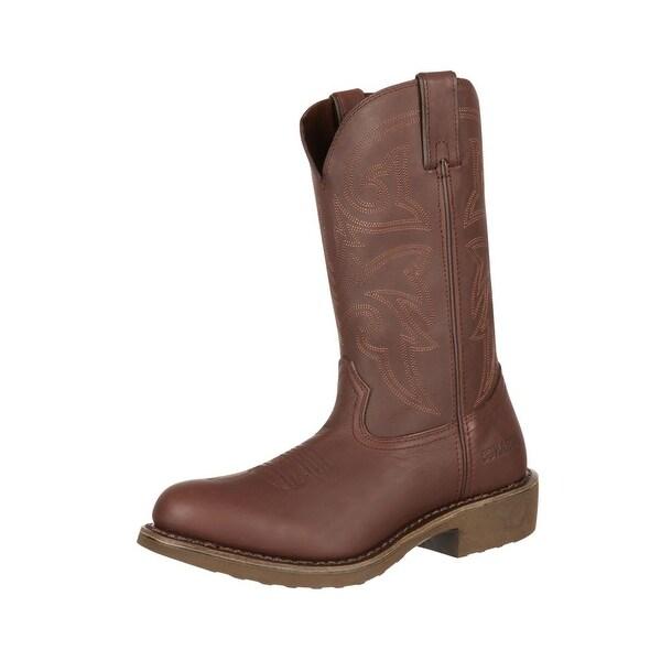 "Durango Work Boot Mens 12"" SPR Leather Comfort Core Medium Brown"
