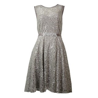 Betsy & Adam Women's Illusion V-Back Belted Metallic Lace Dress - Silver - 12P