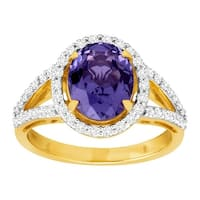 3 5/8 ct Simulated Tanzanite & Cubic Zirconia Cocktail Ring in 14K Gold-Plated Sterling Silver
