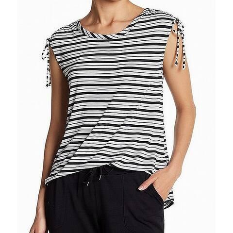Joe Fresh Women's White Striped Tie Cap Sleeve Knit Top