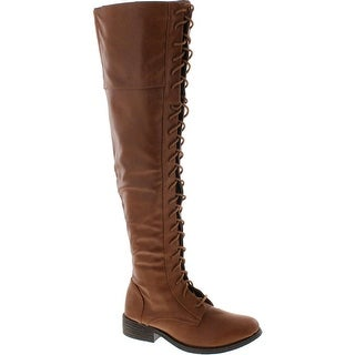 Bamboo Womens Jagger-04A Lace Up Over The Knee Boots