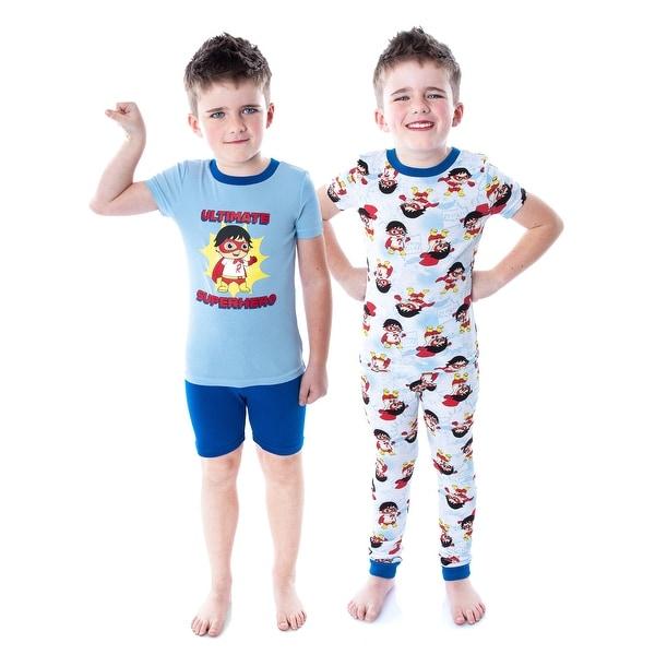 Ryan's World Boys' Ultimate Hero Red Titan Shirt Pants and Shorts 4 Piece Mix n' Match Pajama Set. Opens flyout.