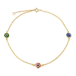 Gold Plated Multicolor Evil Eye Anklet Sterling Silver 9in