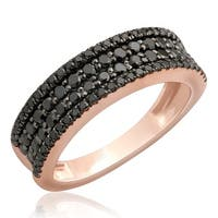 Brand New 1.02 Carat Round Brilliant Black Diamond Four Row Wedding Band
