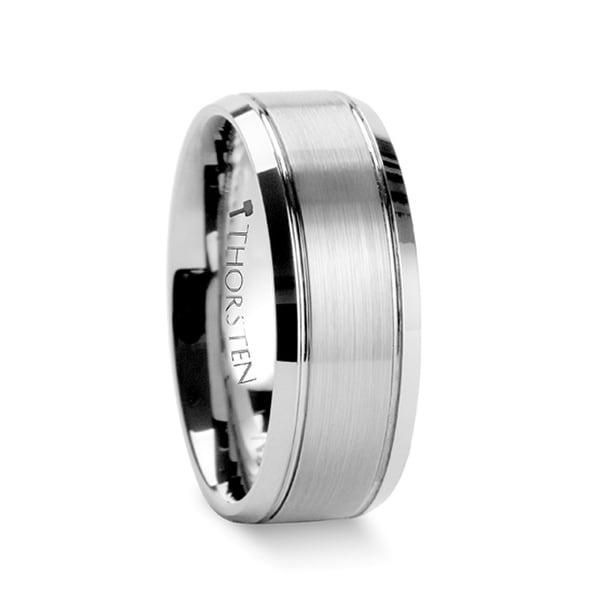 Cronus Brushed Center With Polished Bevels Tungsten Wedding Band