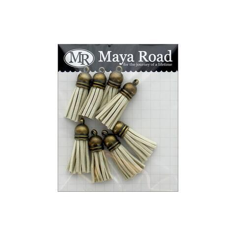 Tas3221 maya road vintage tassels ant gold cap sand beige