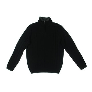 Geoffrey Beene Mens Cable Knit Long Sleeves Pullover Sweater