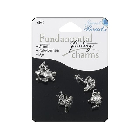 Sweet Beads Fund Find Charm Tea Party Silver 4pc