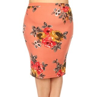 Women Plus Size Trendy Floral Pattern Pencil Skirt Salmon