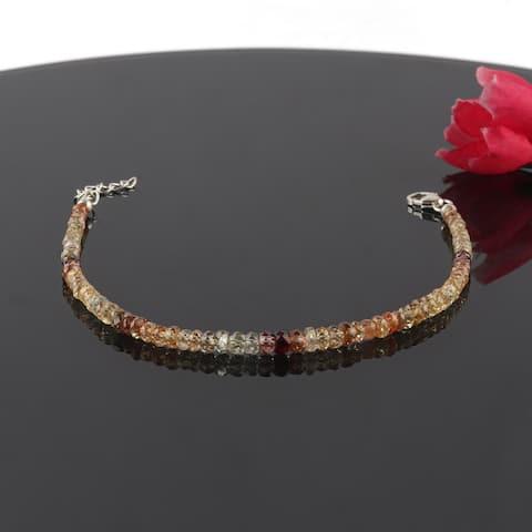 Natural Zircon Gemstone Beaded Bracelet Sterling Sliver