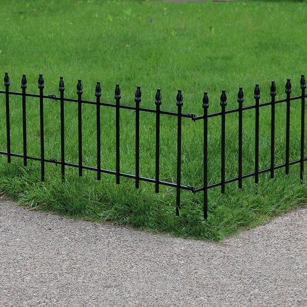 Sunnydaze Set of 5 Border Patio Walkway Fence Panels Garden Decor - Roman Style - 5 Panels